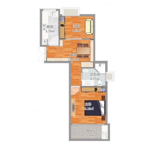 西文东苑2室1厅1卫1厨62.00㎡户型图