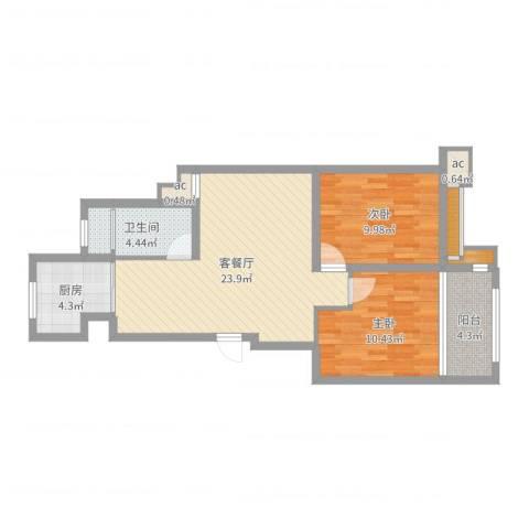 御山雅苑2室2厅1卫1厨75.00㎡户型图