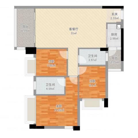 中山板芙盈悦豪庭3室2厅2卫1厨102.00㎡户型图
