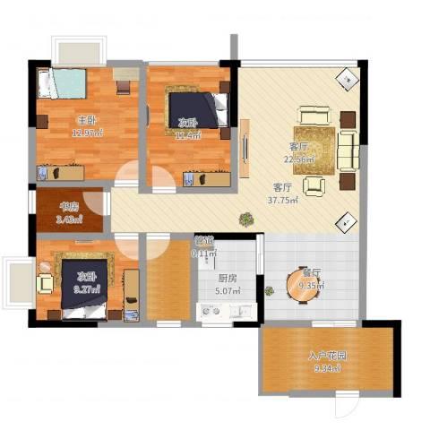 恒远帝都新城4室2厅1卫2厨117.00㎡户型图