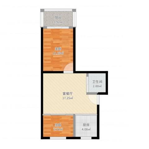 樱花小区2室2厅1卫1厨56.00㎡户型图