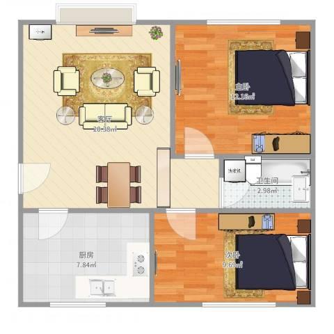 程庄北里2室1厅1卫1厨66.00㎡户型图
