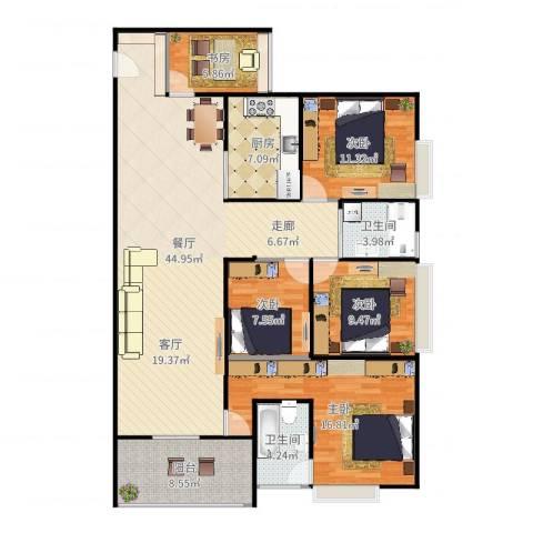 骏逸第一江岸孔雀湾二期5室1厅2卫1厨150.00㎡户型图