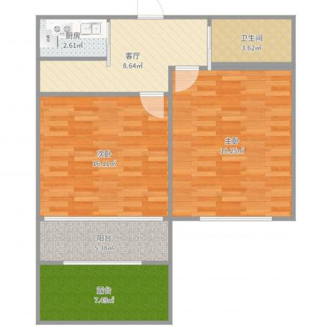 博山小区双南2室1厅1卫1厨78.00㎡户型图