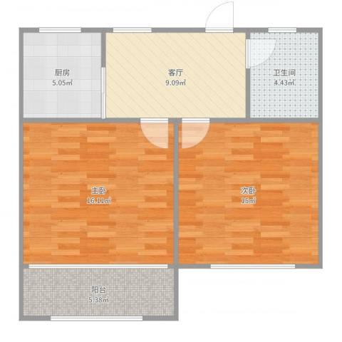 博山小区双南2室1厅1卫1厨69.00㎡户型图
