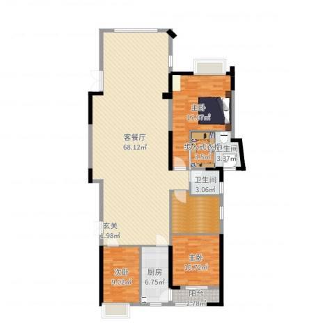 水岸花城3室2厅2卫1厨132.64㎡户型图
