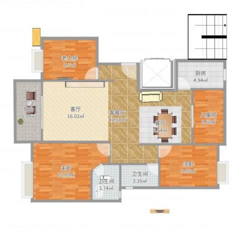 金龙华侨城4室2厅2卫1厨125.00㎡户型图