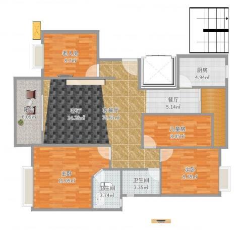 金龙华侨城4室2厅2卫1厨124.00㎡户型图