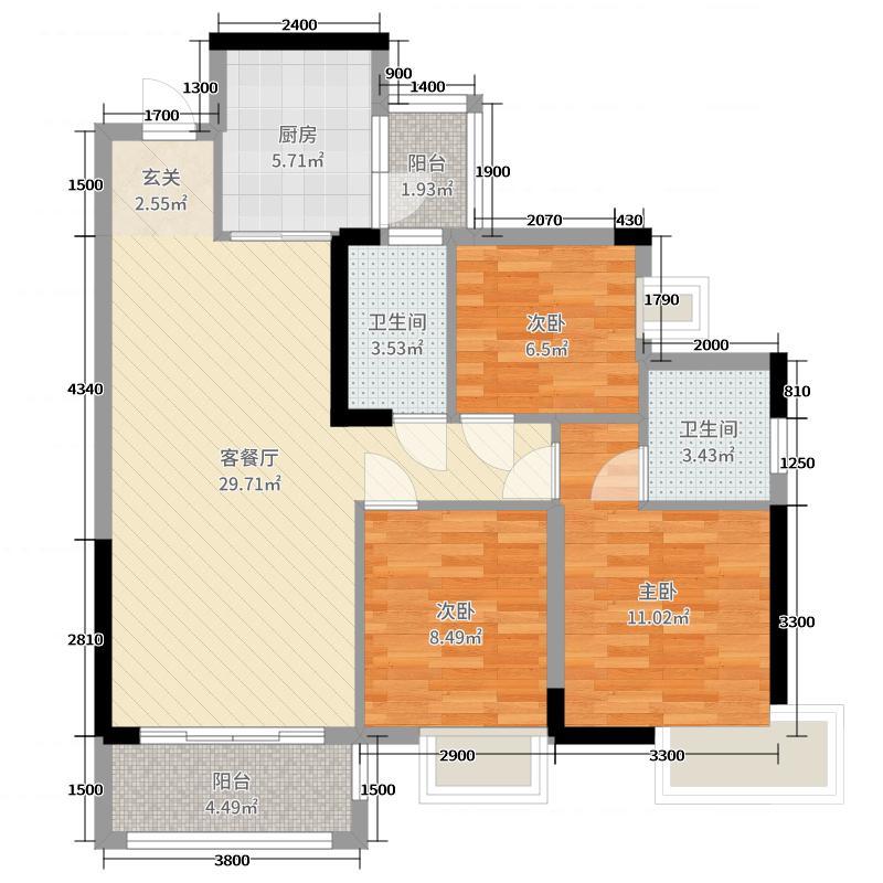 碧桂园十里江湾98.00㎡洋房户型3室3厅2卫1厨