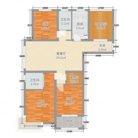城投・御园3室2厅2卫1厨118.00㎡户型图