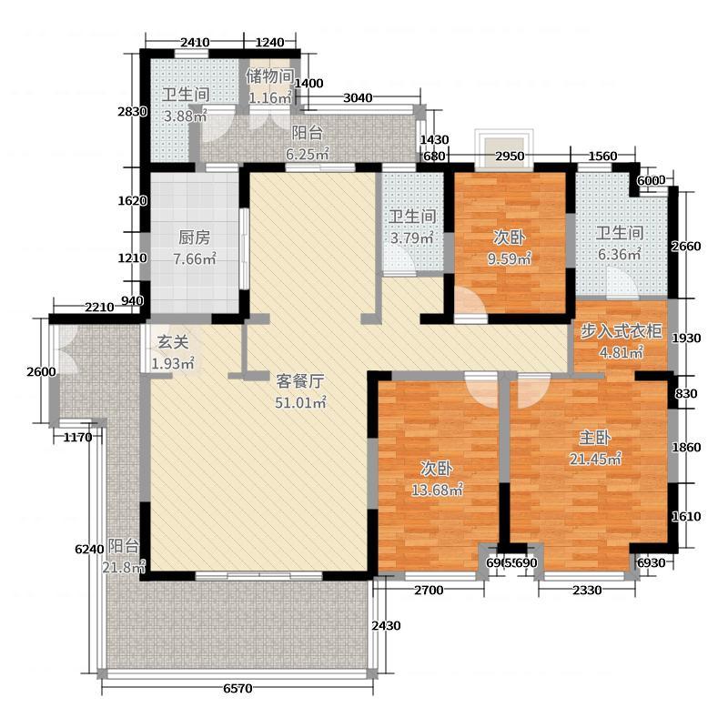 懿峰雅居183.30㎡J栋优雅居01户型3室3厅2卫