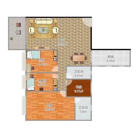 长堤1号4室1厅2卫1厨155.00㎡户型图