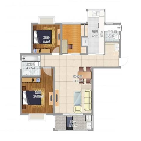 福瑞嘉园2室2厅2卫1厨112.00㎡户型图