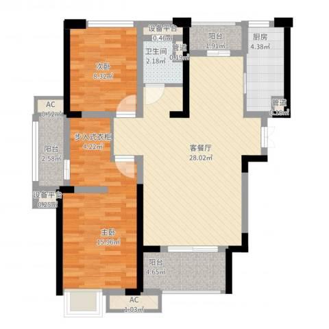 绿地香颂2室2厅1卫1厨105.00㎡户型图