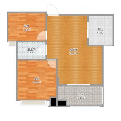 碧桂雅园2室2厅1卫1厨73.00㎡户型图