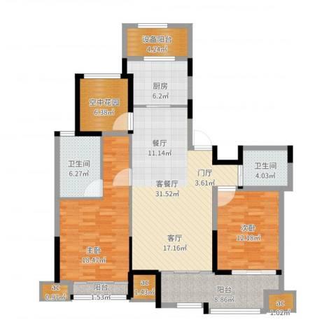 紫金城2室2厅2卫1厨148.00㎡户型图