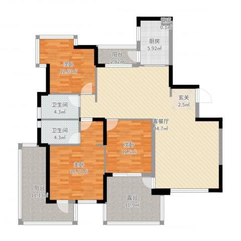 红豆美墅3室2厅2卫1厨156.00㎡户型图
