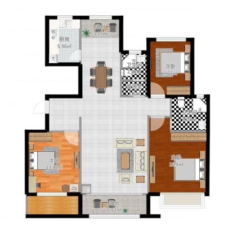 银丰唐郡・荷花园3室3厅2卫1厨143.00㎡户型图