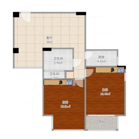 天荣小区2室1厅2卫1厨97.00㎡户型图