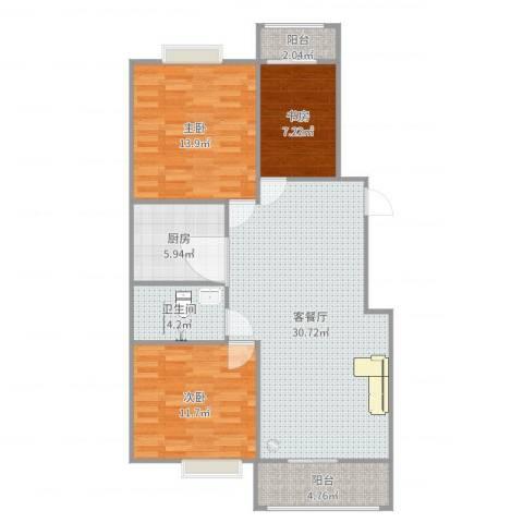 金秋花园三期3室2厅1卫1厨101.00㎡户型图