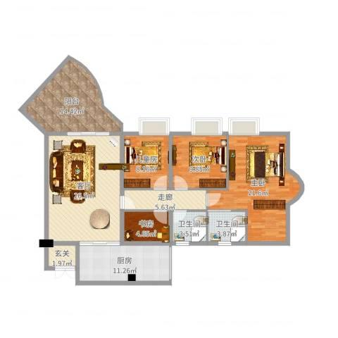 天一新城4室1厅2卫1厨139.00㎡户型图