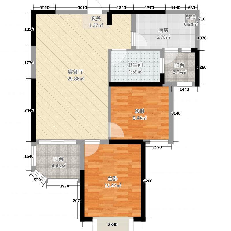 恒大奥东新都87.00㎡6号楼1单元2户型2室2厅1卫1厨