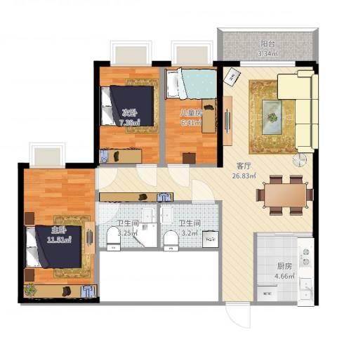 秋园雅苑3室1厅2卫1厨83.00㎡户型图