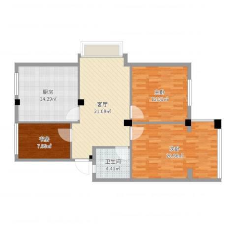 盛世郦都3室1厅1卫1厨81.64㎡户型图