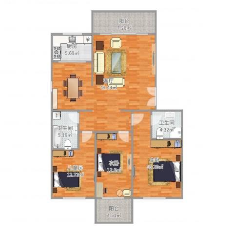 岳北花园3室1厅2卫1厨141.00㎡户型图