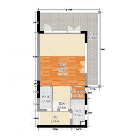 御泉庄2厅1卫1厨64.00㎡户型图