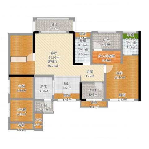 龙光海悦华庭1室2厅2卫1厨114.00㎡户型图