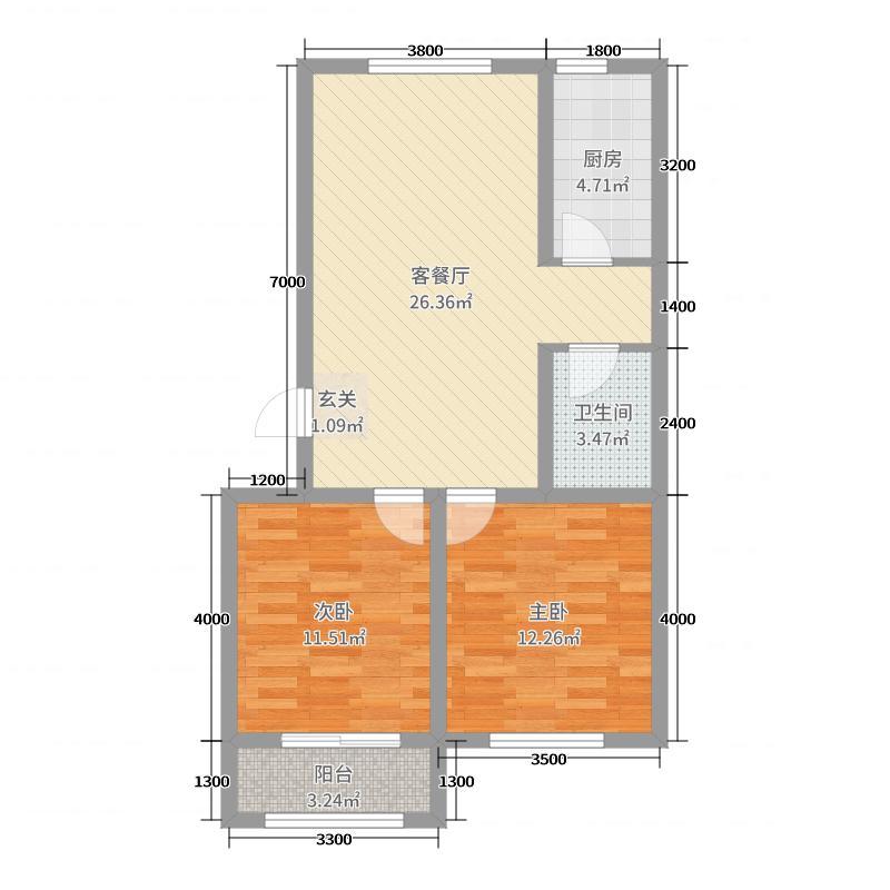 东润国际新城4期院墅82.00㎡A户型2室2厅1卫1厨