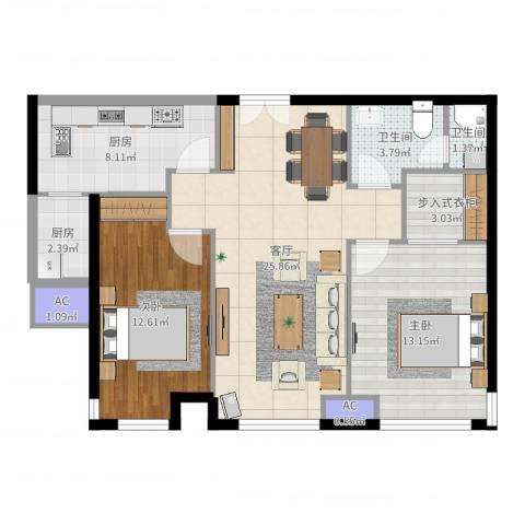 天津富力湾2室1厅2卫2厨90.00㎡户型图