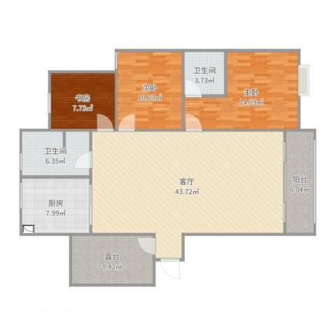 郎溪和谐家园B1户型3室1厅2卫1厨137.00㎡户型图