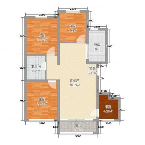 东润国际新城4期院墅4室2厅1卫1厨103.00㎡户型图