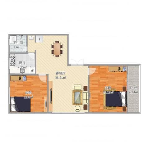 华林花园二期2室2厅1卫1厨87.00㎡户型图
