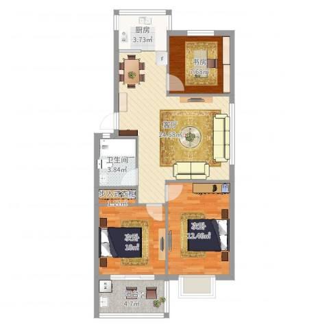 南江绿苑3室1厅1卫1厨85.00㎡户型图