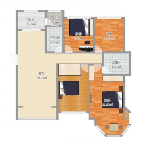 中南锦城3室1厅2卫1厨144.00㎡户型图