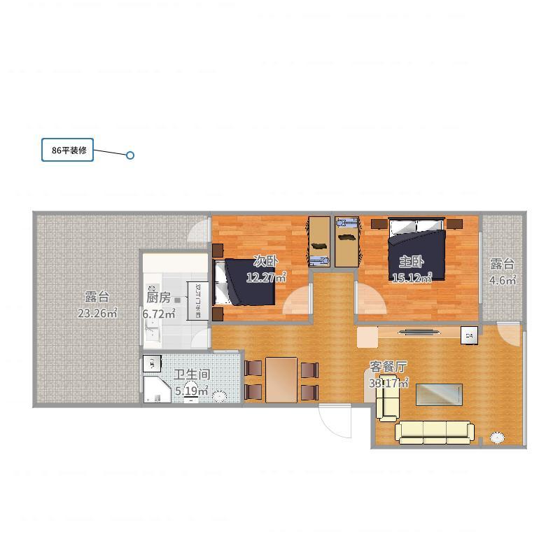 86平套房装修设计方案