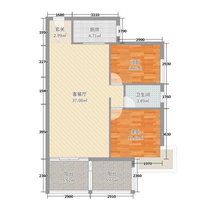 竹园新城95.24㎡3栋F户型3室3厅1卫1厨