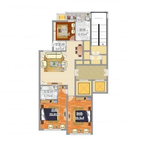 柳逸花苑3室2厅2卫1厨206.00㎡户型图