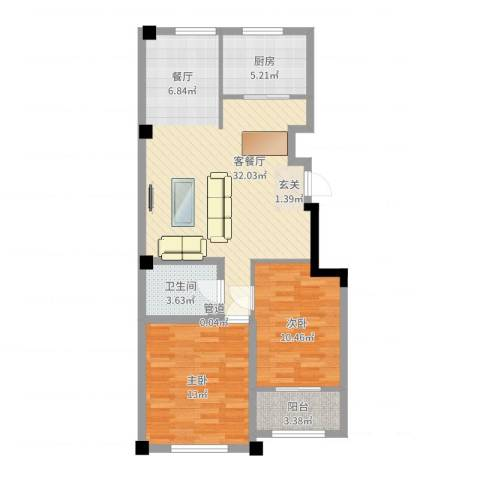 高新・锦绣北山2室2厅1卫1厨96.00㎡户型图