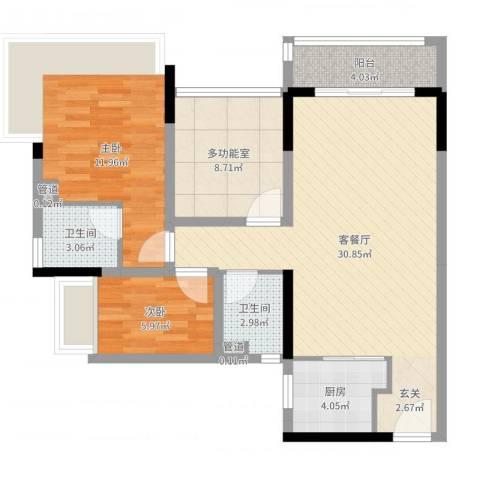 万科金色溪谷花园2室2厅2卫1厨90.00㎡户型图