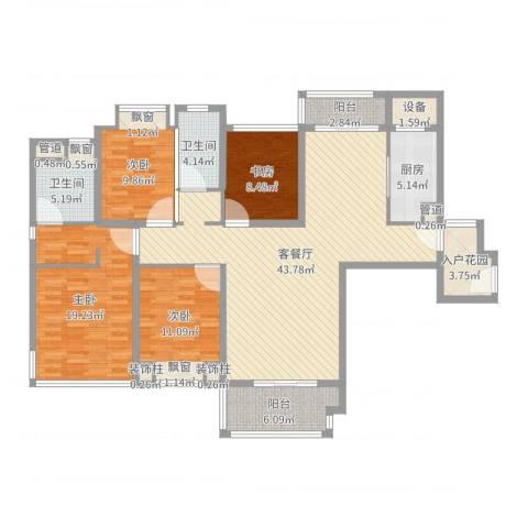 仁恒滨海半岛4室2厅2卫1厨153.00㎡户型图