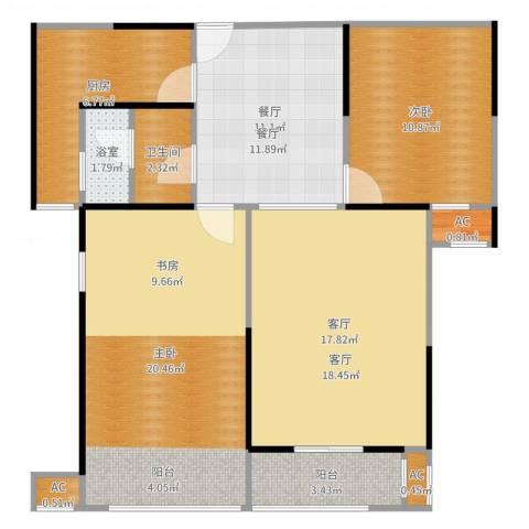 蓝光名仕公馆2室2厅1卫1厨95.00㎡户型图