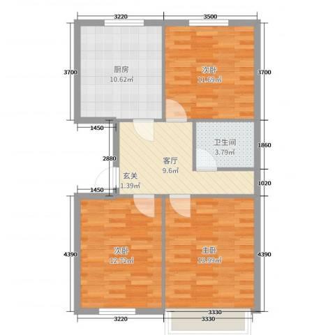 三里家园二区3室1厅1卫1厨62.40㎡户型图