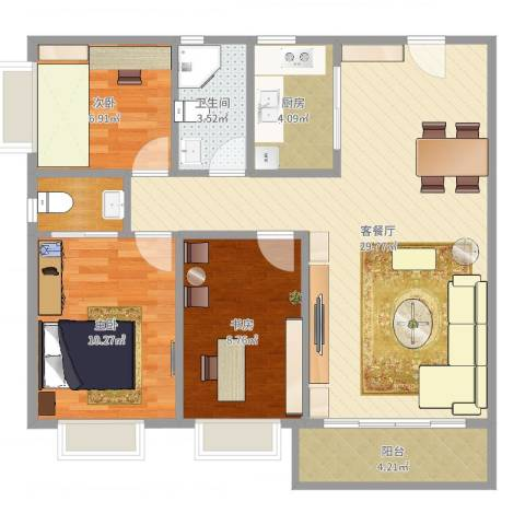 鸿景花园3室2厅1卫1厨87.00㎡户型图