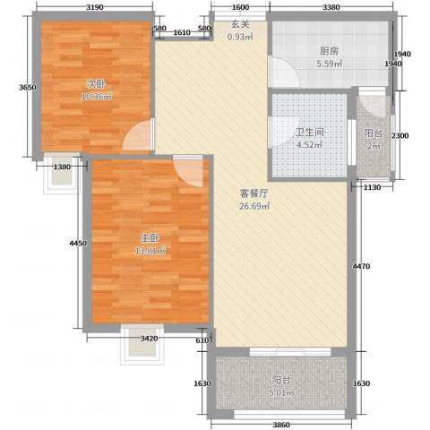 御景龙湾2室2厅1卫1厨85.00㎡户型图