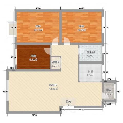 中国城建伦敦公元3室2厅1卫1厨115.00㎡户型图