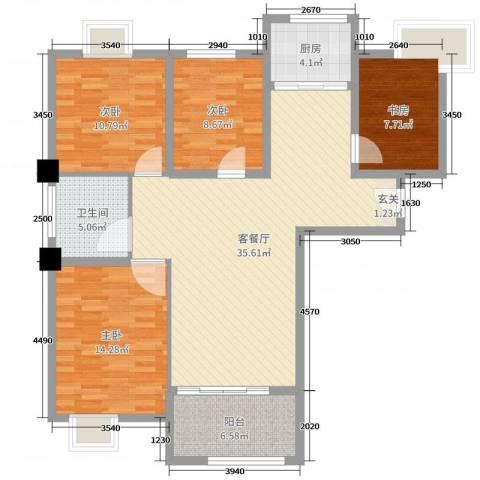 御景龙湾4室2厅1卫1厨116.00㎡户型图
